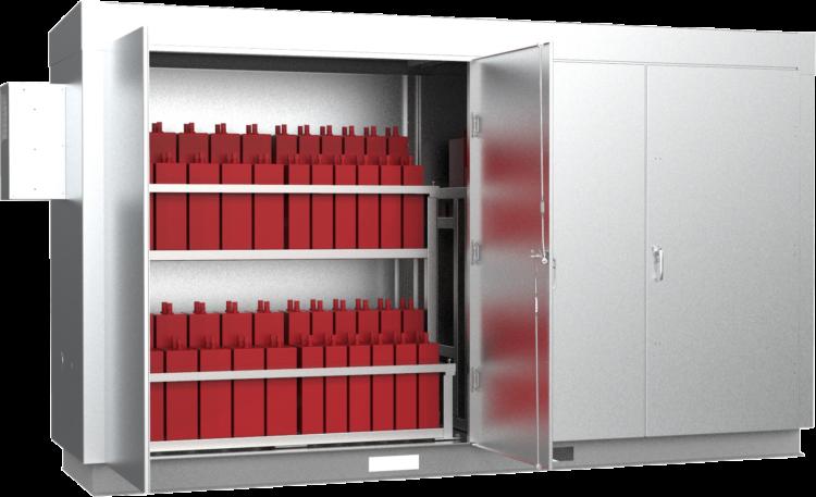 Large Battery Enclosure With Hydrogen Sensors Front Qtr Open